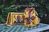 Cumpara ieftin Set genti crosetate ornamentate cu motivul popular din Moldova miez de nuca, Geanta de umar, Multicolor, Microfibra