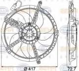 Ventilator, radiator MINI MINI (R50, R53) (2001 - 2006) HELLA 8EW 351 042-741