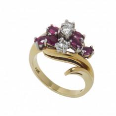 Inel din aur galben 14K cu rubine si diamante, circumferinta 54 mm, IAU106