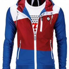 Jacheta pentru barbati, din fas, slim fit, cu fermoar si gluga C201-rosu