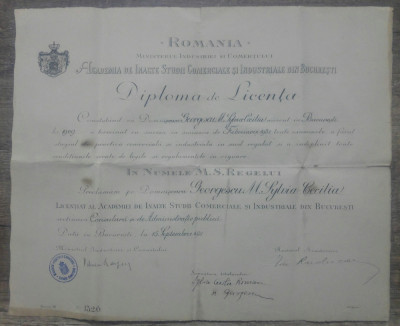 Diploma Licenta Academia Inalte Studii Comerciale si Industriale Bucuresti 1931 foto