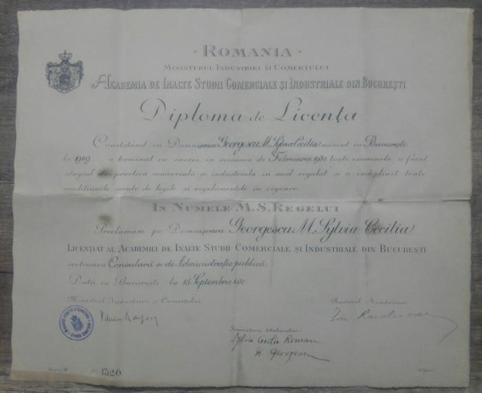 Diploma Licenta Academia Inalte Studii Comerciale si Industriale Bucuresti 1931