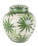 Vas decorativ portelan alb verde Tropic Ø 23 cm x 24 h Elegant DecoLux