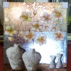 Tablou pictat manual pe panza in ulei, Vaza cu Flori A-285, Natura, Realism