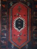 Covor iranian de colecție, lucrat manual, lână, 100 x 74 cm