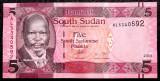 South Sudan 5 Pounds 2015 UNC necirculata **