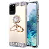 Husa silicon oglinda , inel si pietricele Samsung Galaxy S20 Ultra , Auriu, Alt model telefon Samsung