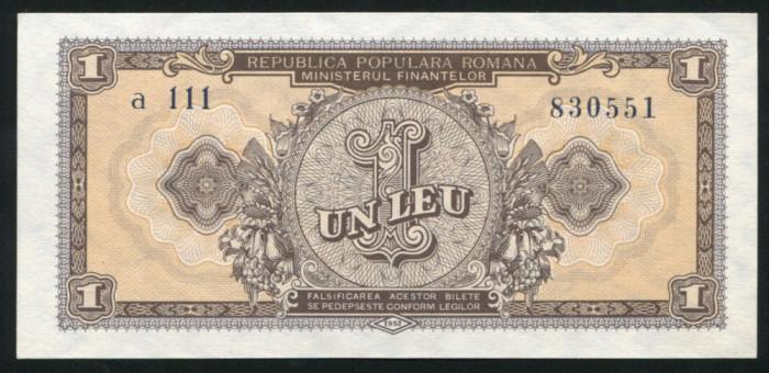 u349 ROMANIA 1 LEU 1952 SERIE ALBASTRA UNC NECIRCULATA