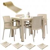 Set terasa MAITAS masa patrata CLASSI RATAN 90x90x75cm 4 scaune SUNSET RATTAN polipropilen/fibra sticla culoare capucino,4 perne scaun,Traversa PANARI