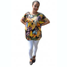 Bluza Lucia cu imprimeu exotic leaf pe fond negru