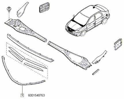 Ornament Inferior Grila Calandru Logan Renault 6001548763
