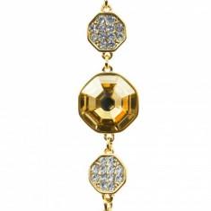 Bratara placata, cu cristal Swarovski si strasuri zirconiu, auriu/bej