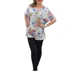 Bluza de culoare alba cu imprimeu de flori mari multicolore