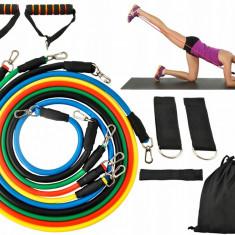 Set corzi elastice pentru rezistenta fitness cu manere, 5 bucati
