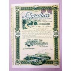 CARPATINA - SOCIETATE ANONIMA ROMANEASCA PENTRU INDUSTRIA FORESTIERA BUCURESTI , TITLU DE 10 ACTIUNI NOMINATIVE IN VALOARE DE CINCI MII LEII , 1943