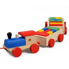 Trenulet din lemn cu vagoane si cuburi - Montessori