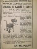1939, reclamă Atelierul de alămărie Dinescu, țuică și vin, Piața Obor 37 BUZĂU