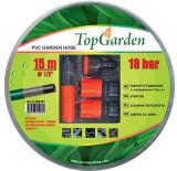 "Furtun de gradina 1/2"" x 15 m cu insertie + mufe si pistol Top Garden"