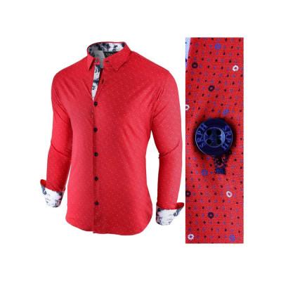 Camasa pentru barbati, rosu, slim fit, casual - Broker in Holiday foto