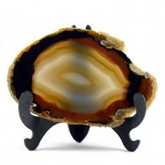 Geoda de agat maro cu negru