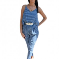 Salopeta casual cu dungi verticale de culoare bleumarin-alb