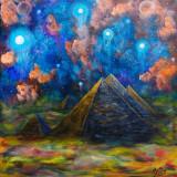 "Tablou pictura piramide ""Giza"" vacanta cadou fantasy arta Egipt panza, Natura, Acrilic, Altul"