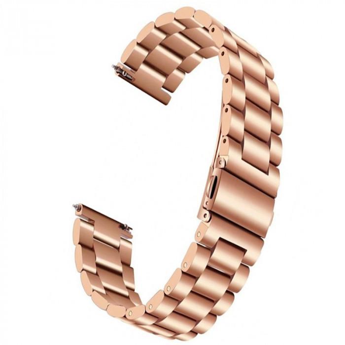 Curea otel, compatibila Samsung Galaxy Watch 42mm, Telescoape QR, Rose/Gold