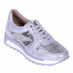 Pantofi Sport de dama din Piele Naturala Gri cu Argintiu