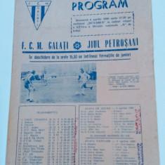 Program meci fotbal FCM GALATI - JIUL PETROSANI (06.04.1980)