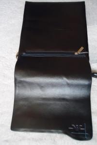 Borseta office neagra tripla barbati piele naturala 12 compartimente geanta