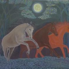 Cai alergand, tablou ulei , panza pe sasiu din lemn, 45x55 cm, Animale, Altul