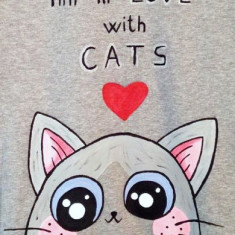 Bluza pentru barbati, pictata manual cu Pisica Simpatica
