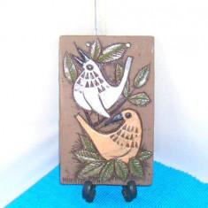 Tablou ceramica relief emailata - Pasari - semnat Ninnie Forsgren, Bromma Suedia