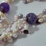 Colier perle naturale multicolore si cuart -x18