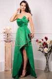 Rochie de seara lunga din tafta verde cu brosa in talie