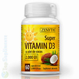 Vitamina D3 ulei cocos 60cps. (imunitate, oase, muschi) Zenyth