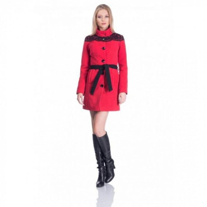 Palton din stofa cu aplicatii dantela rosu negru
