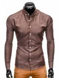 Camasa pentru barbati maro cu model slim fit casual cu guler k407