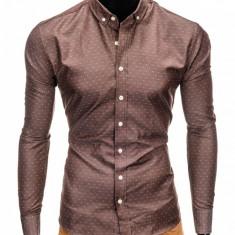 Camasa pentru barbati, maro, cu model, slim fit, casual, cu guler - k407