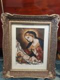 Goblen vechi Fecioara Maria cu pruncul Iisus, stare perfecta