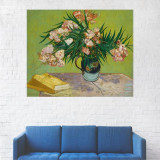 Tablou Canvas, Pictura Artistica, Vaza cu Flori, Trandafiri Albi - 20 x 25 cm