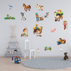 Set 29 Stickere copii - Ferma3 60x90cm plansa, STKWAC0011