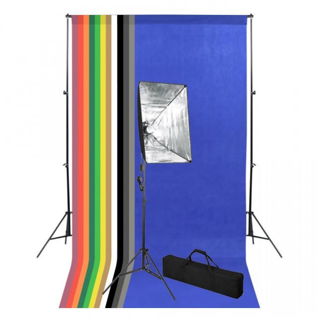 Kit studio foto cu fundal și lumină cu softbox