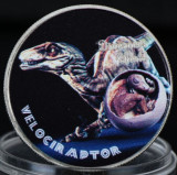 Dinozaur 2017 Velociraptor UNC Argintiu Colorat  40mm