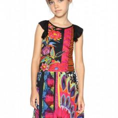 Rochie fete, cu imprimeu floral Nuakchot, Desigual, Marimea 7-8 ani, Multicolor