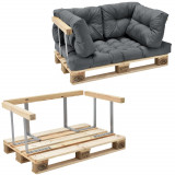 Garnitura completa mobilier paleti Model C - 1 x europalet, 1 x perna sezut, 4 x perne spate, 1 x suport spate, 2 x suporti brate - gri deschis
