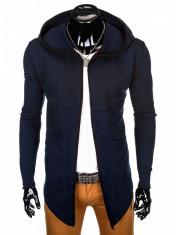 Cardigan pentru barbati, bleumarin, lung, in colturi, gluga fixa, slim fit, pe corp - B822 foto