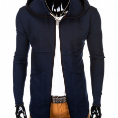 Cardigan pentru barbati bleumarin lung in colturi gluga fixa slim fit pe corp B822