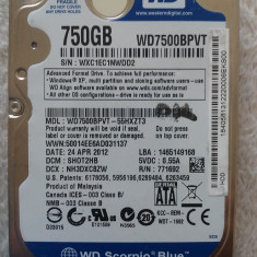 Hard disk laptop 750GB, HDD SATA 2.5 Western Digital WD7500BVPT, 5400 rpm OK, 500-999 GB, SATA 3