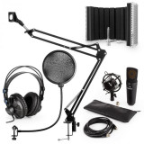 Cumpara ieftin Auna MIC-900B, set de microfon USB, kit de microfon condensator V5 + braț de microfon, filtru pop, panou de absorpție pentru microfon